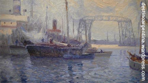"""""""D�a Gris"""" von Justo Lynch aus dem Jahre 1913 mit der La Boca Brücke im Hintergrund"""