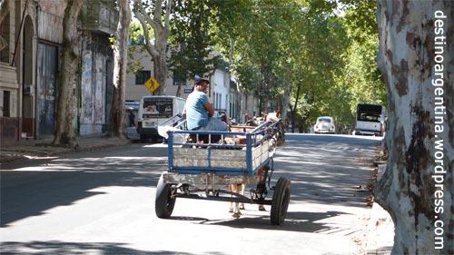 Pferd und Wagen unweit des Zentrums von Montevideo