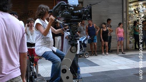 Dreharbeiten in der Calle Florida in Buenos Aires