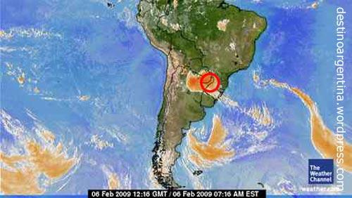 Wetterkarte der Unwettersituation in der Region Misiones in Argentinien