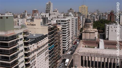 Stadtansicht des argentinischen Rosarios mit Avenida Cordoba vom Monumento a la Bandera